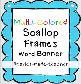MULTICOLOR SCALLOP Wordname Banner Editable PPT Template TpT - Name banner template