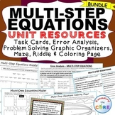 MULTI-STEP EQUATIONS Bundle - Task Cards, Error Analysis, Word Problems, Puzzles