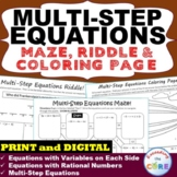 MULTI-STEP EQUATIONS Maze, Riddle, & Coloring Page (Fun MATH Activities)