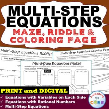 MULTI-STEP EQUATIONS Maze, Riddle, & Color by Number (Fun MATH Activities)