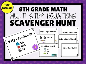 MULTI STEP EQUATIONS Scavenger Hunt (8th Grade Math)
