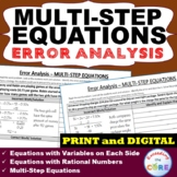 MULTI-STEP EQUATIONS  Error Analysis (Find the Error) PRINT AND DIGITAL