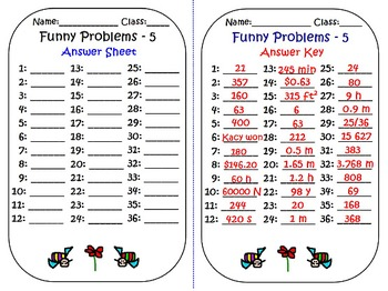 MULTI-STEP FUNNY WORD PROBLEMS: FRACTIONS & DECIMALS! BOOK-5, 36 Task Cards, 4-7