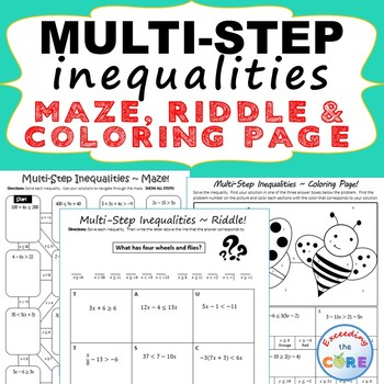 MULTI-STEP INEQUALITIES Maze, Riddle, Color by Number ( Fun MATH Activities)