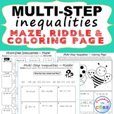 MULTI-STEP INEQUALITIES Maze, Riddle, Color by Number Coloring Page Fun Activity