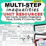 MULTI-STEP INEQUALITIES  Bundle - Task Cards Graphic Organizers, Puzzles