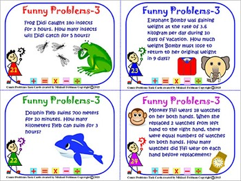 MULTI-STEP MATH FUNNY WORD PROBLEMS:  BOOK – 3, 36 Task Cards, 4-7