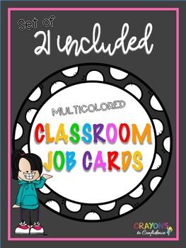 MULTICOLORED Classroom Job Label Cards