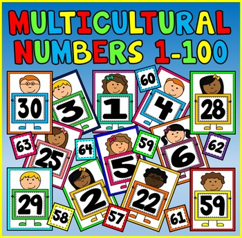 MULTICULTURAL NUMBER FLASHCARDS 1-100 A4 -MATHS KS1 EYFS DISPLAY POSTERS