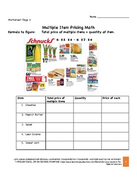 MULTIPLE ITEM & SALE PRICING -GROCERY DISCOUNT MATH