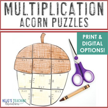 MULTIPLICATION Acorn Fall Activities | Fall Math Centers | Make a FUN Fall Craft