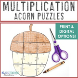 MULTIPLICATION Acorn Math Activity, Game, or Fall Learning & Bulletin Board