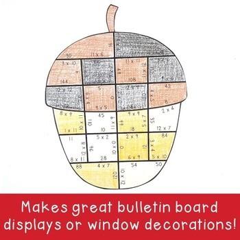 MULTIPLICATION Acorn Math Activity, Game, or Fall Learning & Bulletin Board
