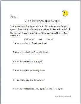 MULTIPLICATION BRAINWORK:FUN WORD PROBLEMS!