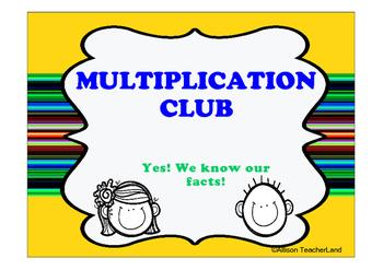 MULTIPLICATION CLUB BULLETIN BOARD
