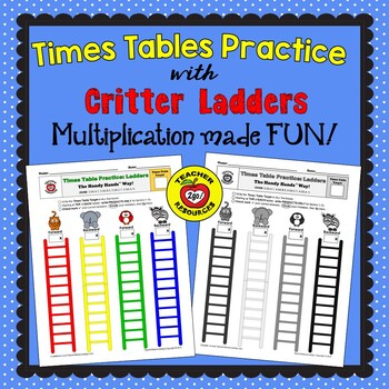 MULTIPLICATION FACT CRITTER LADDERS PRACTICE - The Handy Hands Way!