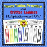 Times Tables Practice: Critter Ladders (Color & B/W)