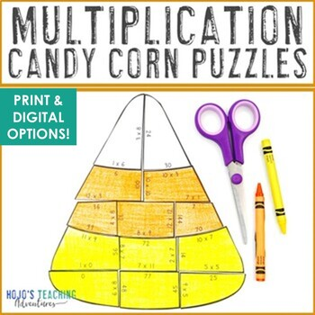 MULTIPLICATION Candy Corn Puzzles | Fall Activities | FUN Fall Math Centers