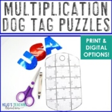 MULTIPLICATION Dog Tag Puzzles | FUN Veterans Day Activities or Math Center