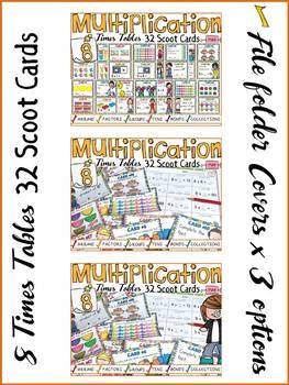 MULTIPLICATION: EIGHT TIMES TABLES: SCOOT CARDS