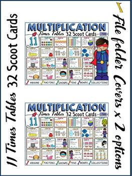 MULTIPLICATION: ELEVEN TIMES TABLES FACTS: SCOOT CARDS
