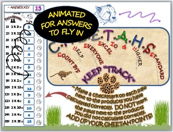 "MULTIPLICATION FACT PRACTICE : ""FAST FIFTEEN"" CHEETAH THEME"