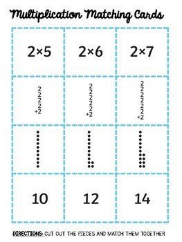 MULTIPLICATION FACTS MATCHING SET