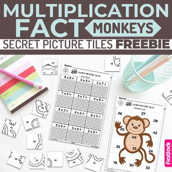 MULTIPLICATION FACTS Paperless + Printable Secret Picture Tiles FREEBIE