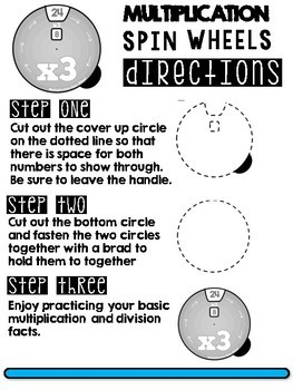 MULTIPLICATION FACTS SPIN WHEELS