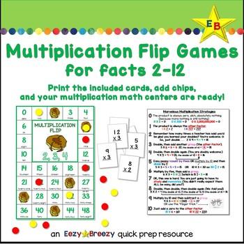 MULTIPLICATION FLIP games 2-12