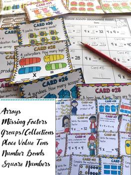 MULTIPLICATION: FOUR TIMES TABLES FACTS: SCOOT CARDS