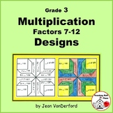 MULTIPLICATION Problems 7-12 | Color Geometric Designs | Gr 3 MATH | NO PREP
