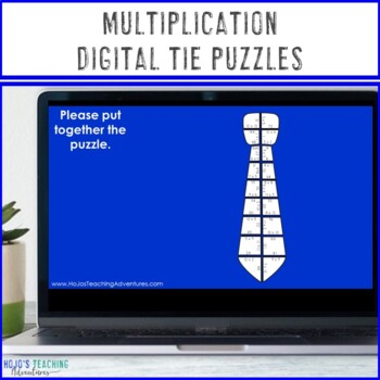 MULTIPLICATION Tie Puzzles | Father's Day Math Centers, Review, Gift, or Craft