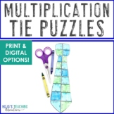MULTIPLICATION Tie Puzzles   Father's Day Distance Learning Packet Option