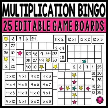 Multiplication Bingo 95 Differentiated Boards Game Set
