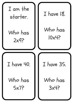 MULTIPLICATION - I have, who has card game.