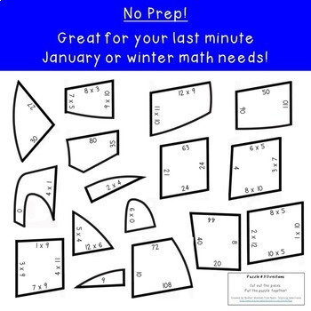 MULTIPLICATION Igloo Winter Math Puzzles | FUN Winter Math Activities or Games