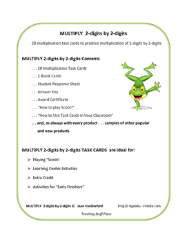 MULTIPLICATION   2-digits by 2-digits TASK CARDS    REVIEW   CORE Gr 4-5 MATH