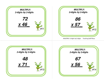 MULTIPLICATION | 2-digits by 2-digits TASK CARDS |  REVIEW | CORE Gr 4-5 MATH
