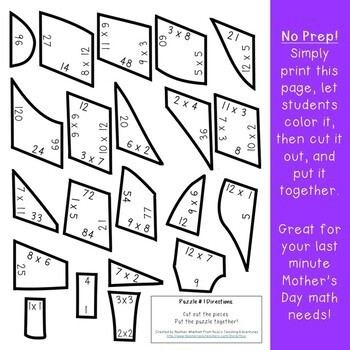 MULTIPLICATION High Heel Puzzles | Make a Mother's Day Card