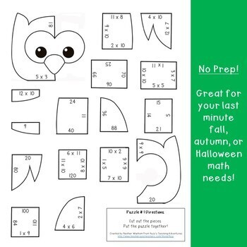 MULTIPLICATION Owl Math Puzzles: Fall Themed Activity Centers: Fall Math Centers
