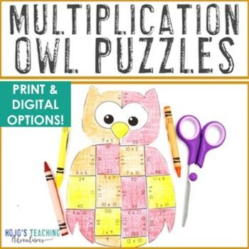MULTIPLICATION Owl Math Puzzles   Make an Owl Craft or Coloring Page Alternative