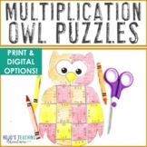 MULTIPLICATION Owl Math Puzzles | Make a Halloween Colorin