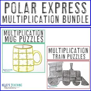 MULTIPLICATION Polar Express Math Games - Train & Hot Chocolate Mug Puzzles