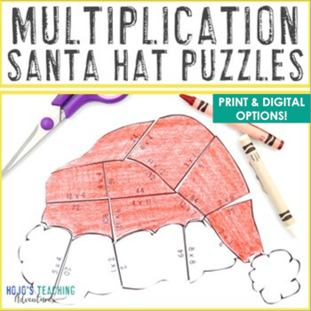 MULTIPLICATION Santa Hat Puzzles - Christmas Mystery Math Picture Unscramble