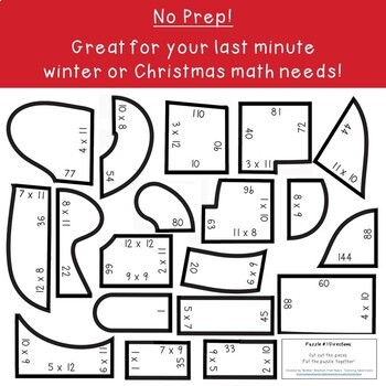 MULTIPLICATION Santa Sleigh Math Activity | Christmas Math Games or FUN Puzzles