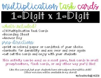 MULTIPLICATION TASK CARDS SET 1