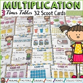 MULTIPLICATION: THREE TIMES TABLES FACTS: SCOOT CARDS