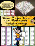 MULTIPLICATION: TIMES TABLES {Fans, Interactive notebook, flashcards, bingo}