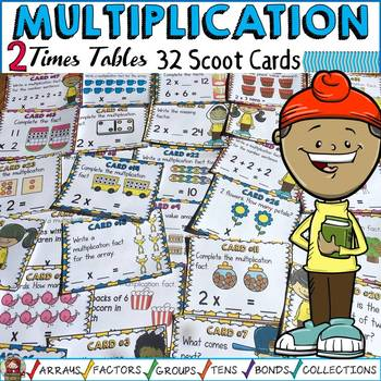 MULTIPLICATION: TWO TIMES TABLES FACTS: SCOOT CARDS